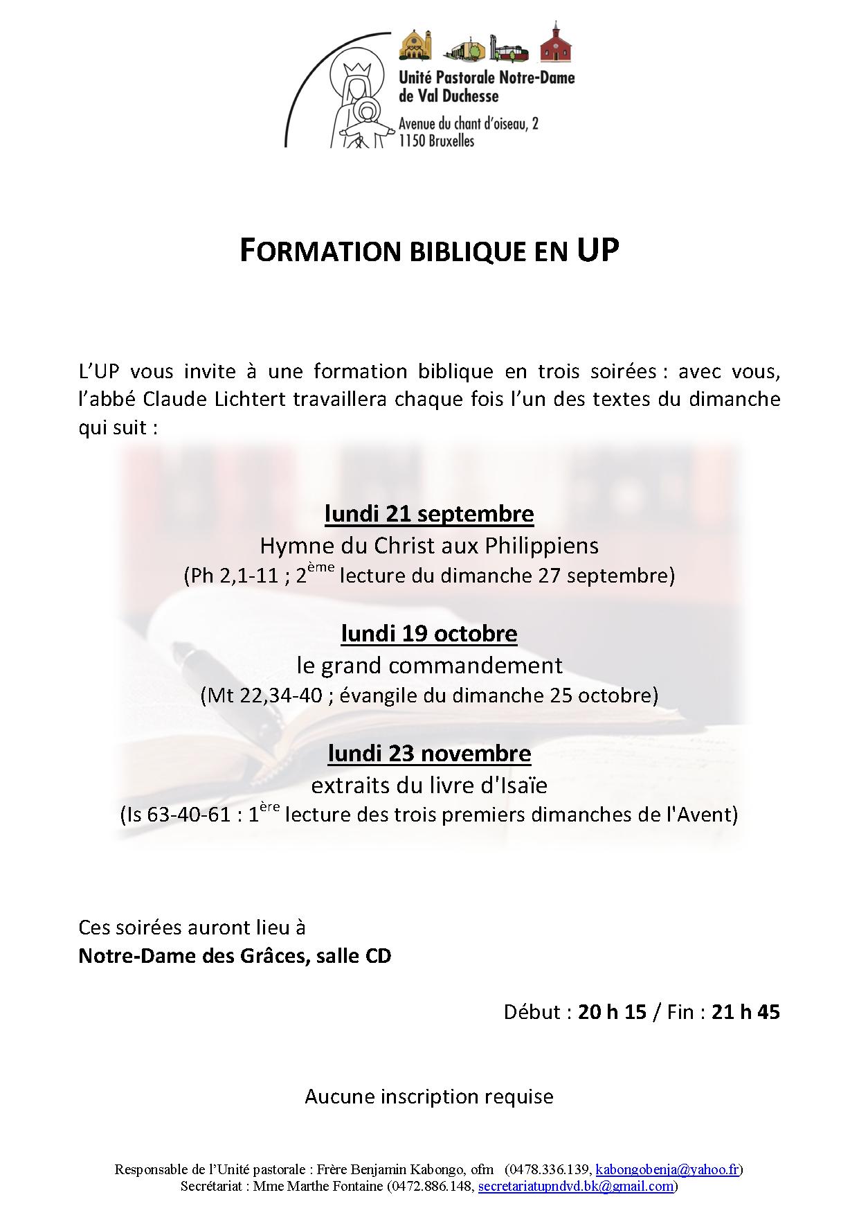 Formation biblique @ Notre-Dame-des-Grâces (Cure)