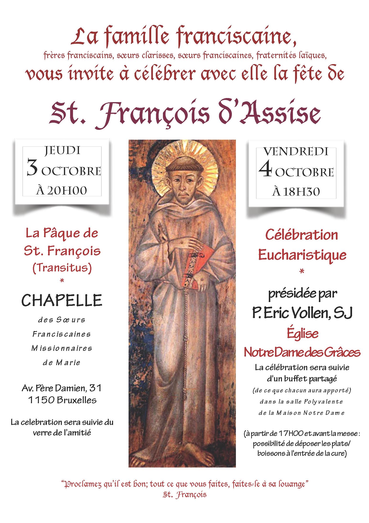 La Pâque de St. François @ Chapelle des Soeurs Franciscaines Missionnaires de Marie