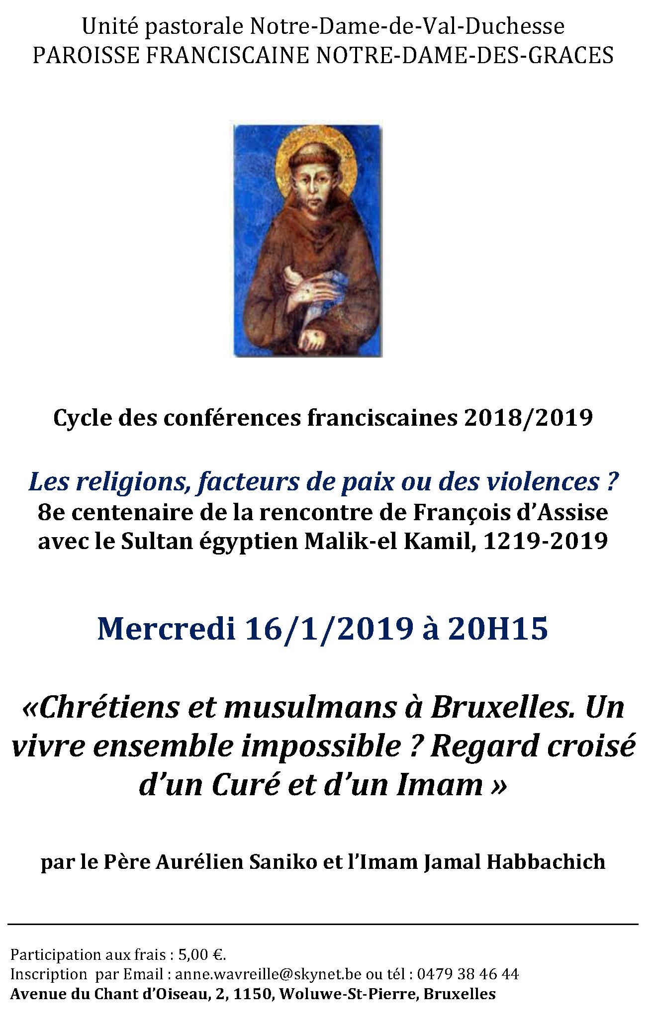 Conférence franciscaine : «Chrétiens et musulmans à Bruxelles. Un vivre ensemble impossible ? Regard croisé d'un Curé et d'un Imam » par le Père Aurélien Saniko et l'Imam Jamal Habbachich @ Notre-Dame des Grâces (cure)