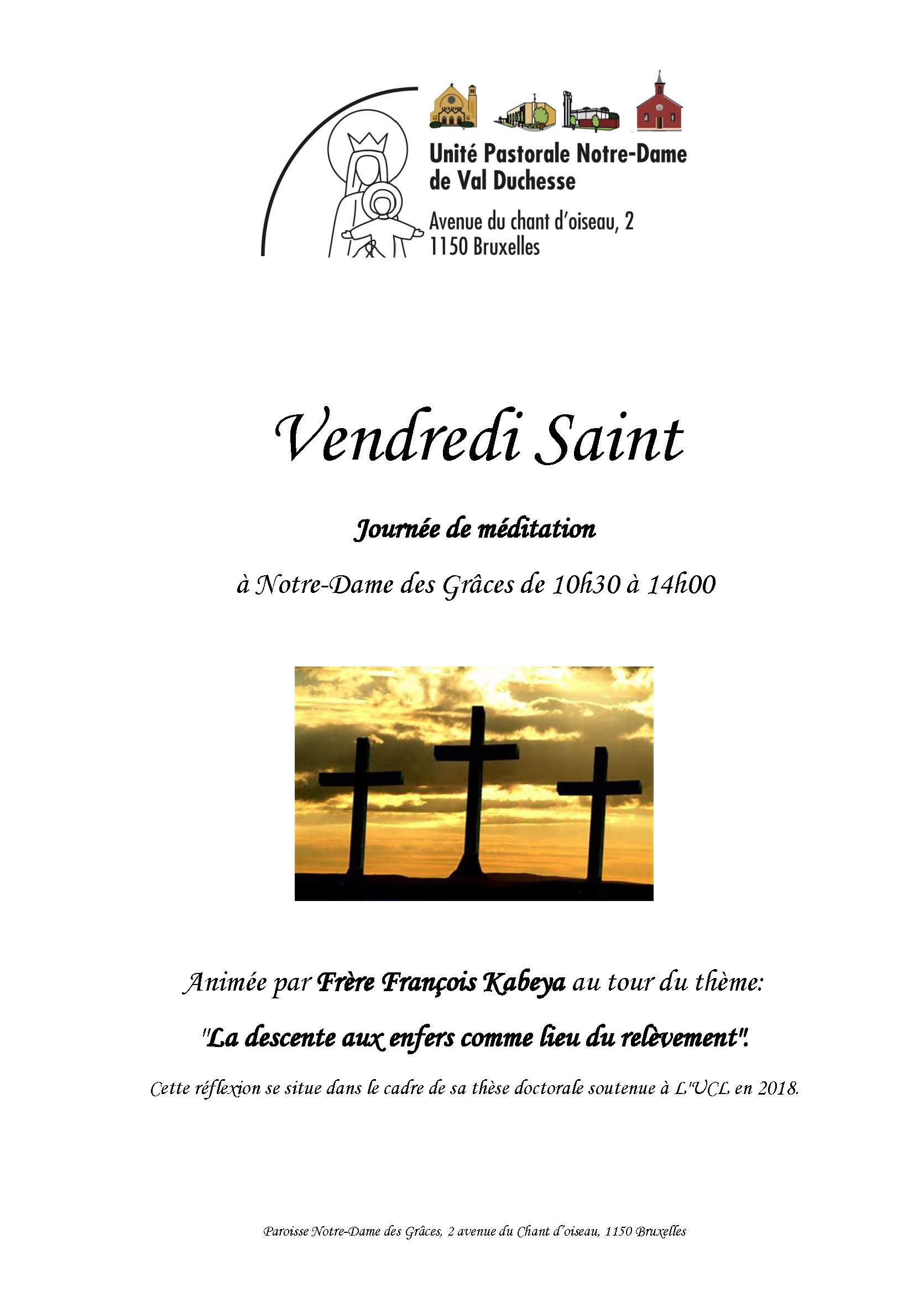 """Méditation animée par le Frère François Kabeya, ofm : """"La descente aux enfers comme lieu de relèvement"""""""" @ Notre-Dame des Grâces (cure)"""