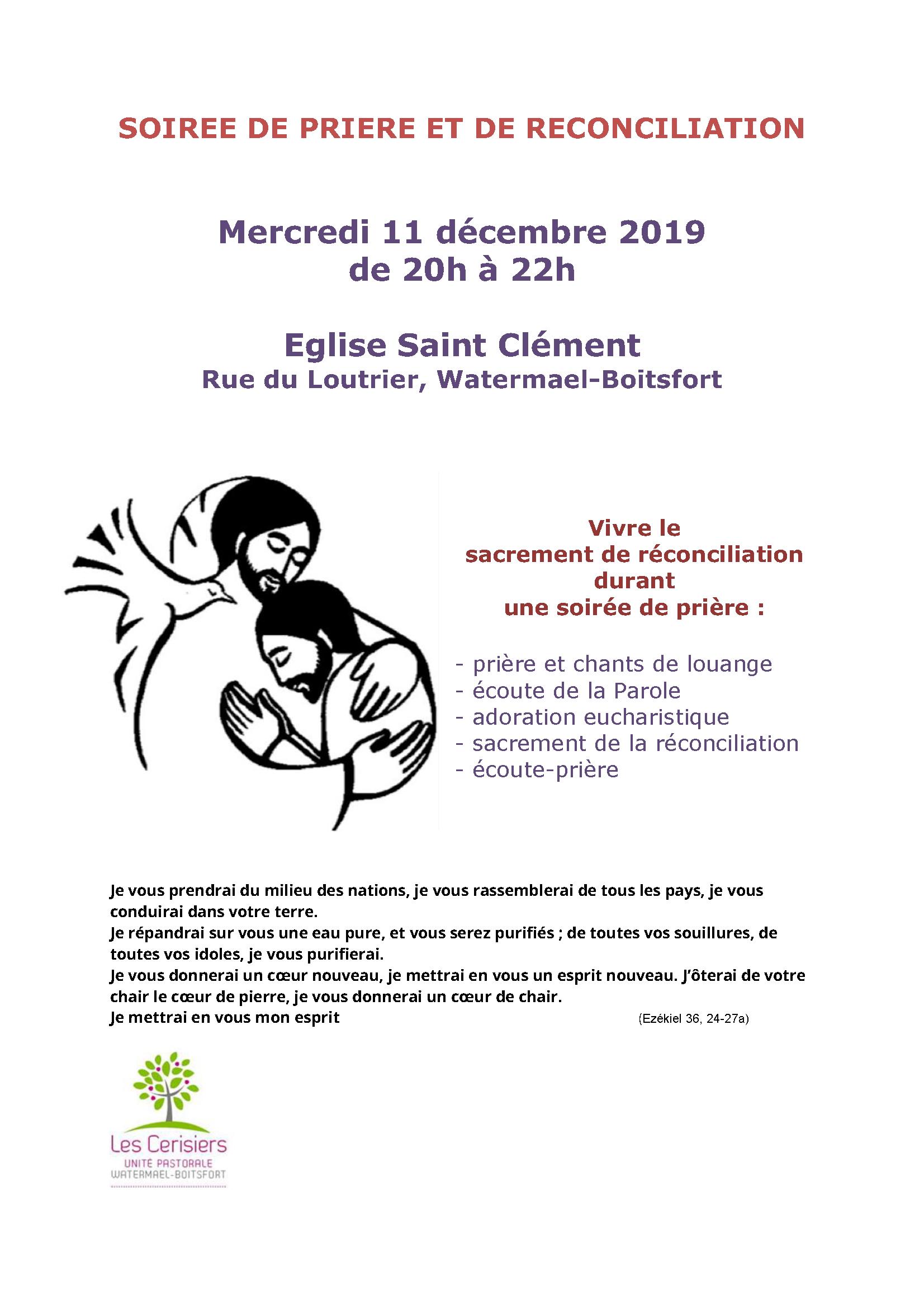 """Soirée de prière et de réconciliation organisée par le groupe de prière """"Source de Vie"""" @ église St Clément"""