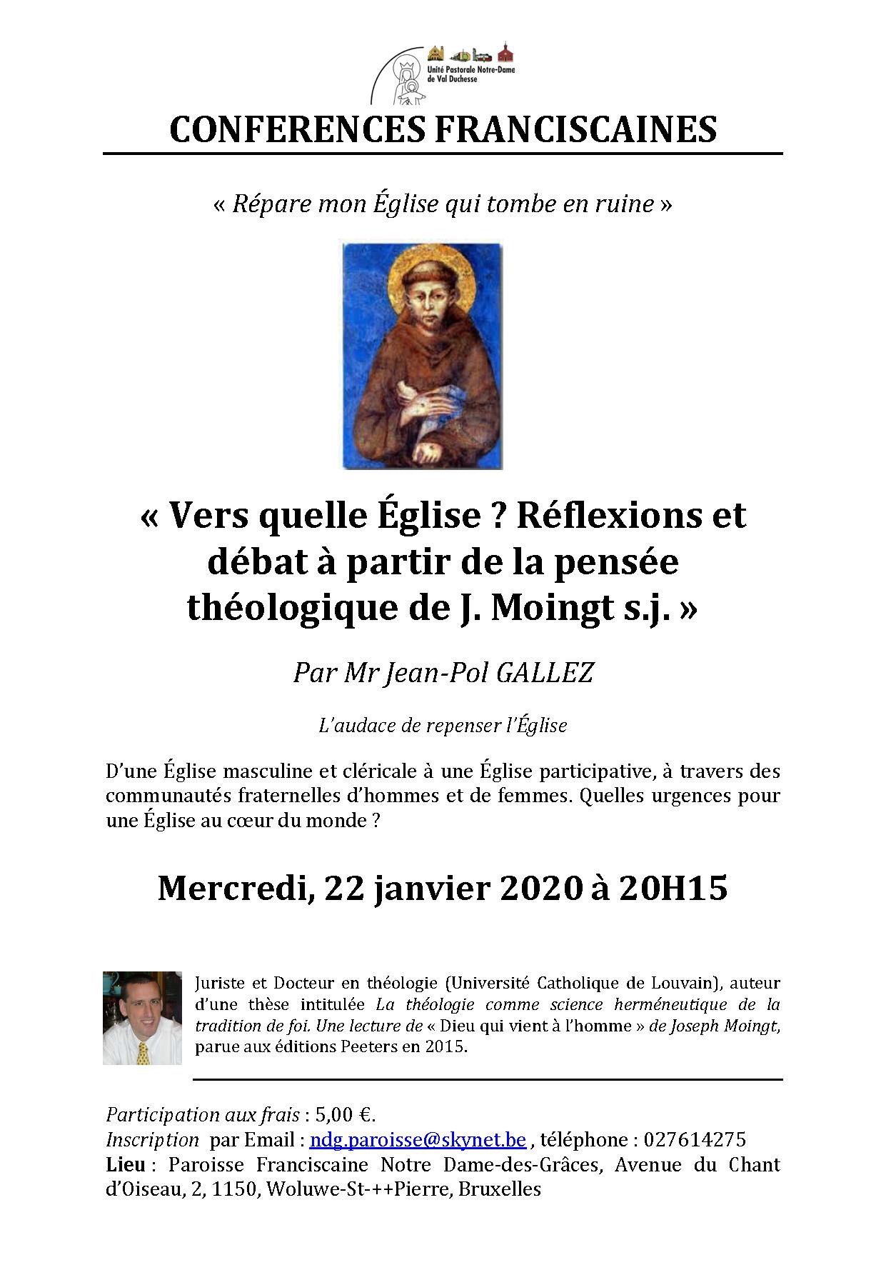 Conférence franciscaine : Vers quelle Eglise : l'audace de repenser l'Eglise @ Notre-Dame des Grâces (cure)